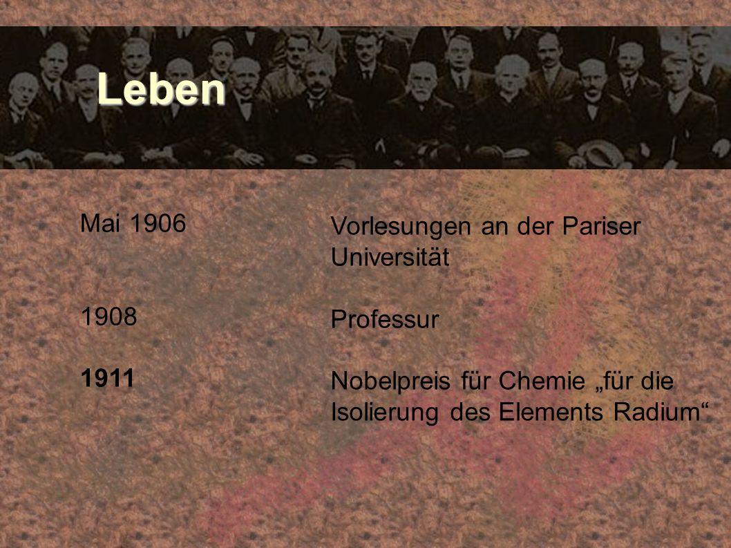 Leben Mai 1906 Vorlesungen an der Pariser Universität 1908 Professur