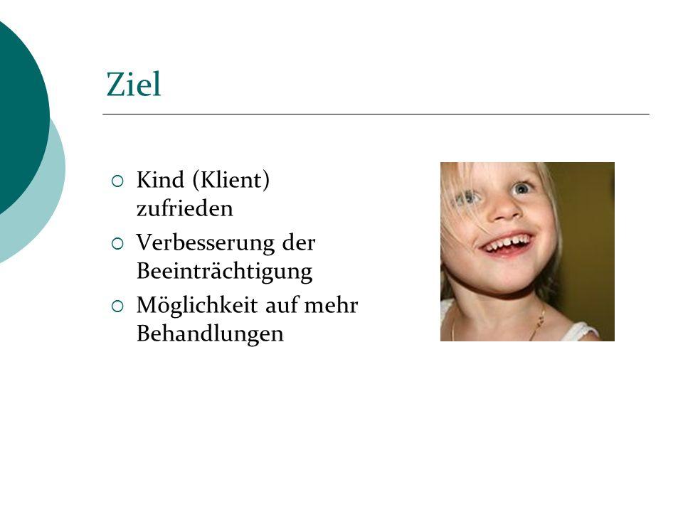 Ziel Kind (Klient) zufrieden Verbesserung der Beeinträchtigung