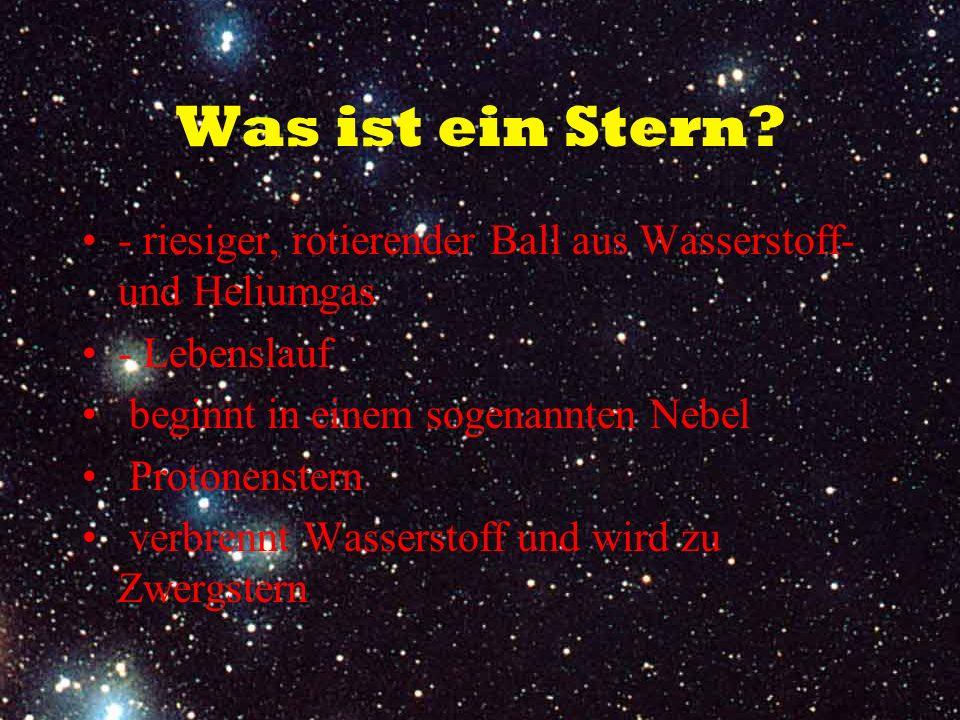 Was ist ein Stern - riesiger, rotierender Ball aus Wasserstoff- und Heliumgas. - Lebenslauf. beginnt in einem sogenannten Nebel.