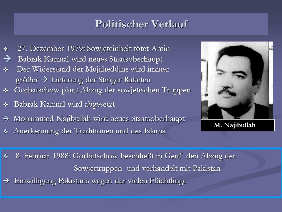 Politischer Verlauf  Babrak Karmal wird neues Staatsoberhaupt