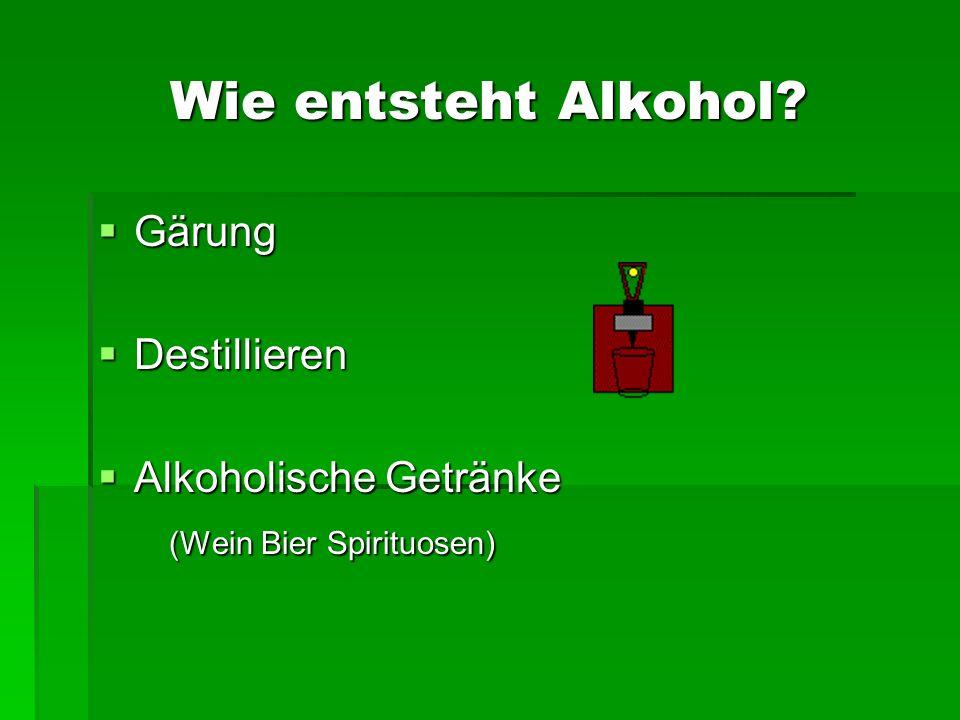Wie entsteht Alkohol Gärung Destillieren Alkoholische Getränke