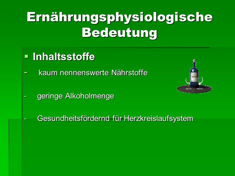 Ernährungsphysiologische Bedeutung