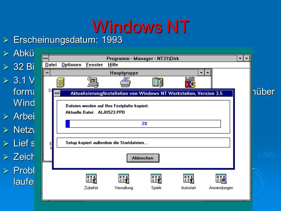 """Windows NT Erscheinungsdatum: 1993 Abkürzung NT: """"New Technology"""