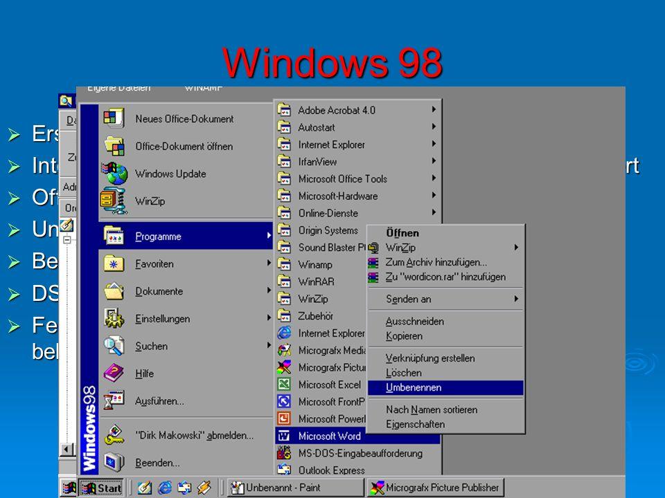 Windows 98 Erscheinungsdatum: 1998