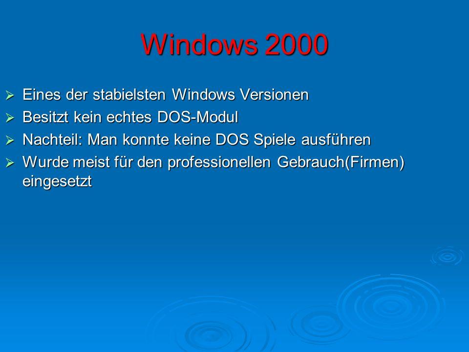 Windows 2000 Eines der stabielsten Windows Versionen