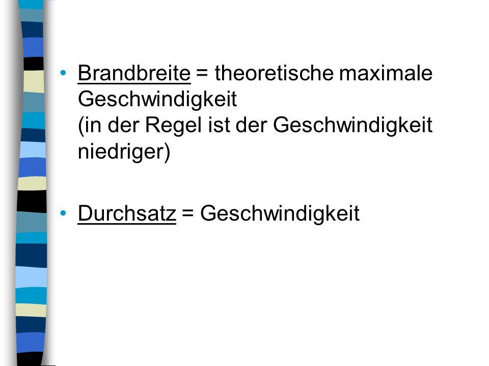 Brandbreite = theoretische maximale Geschwindigkeit (in der Regel ist der Geschwindigkeit niedriger)