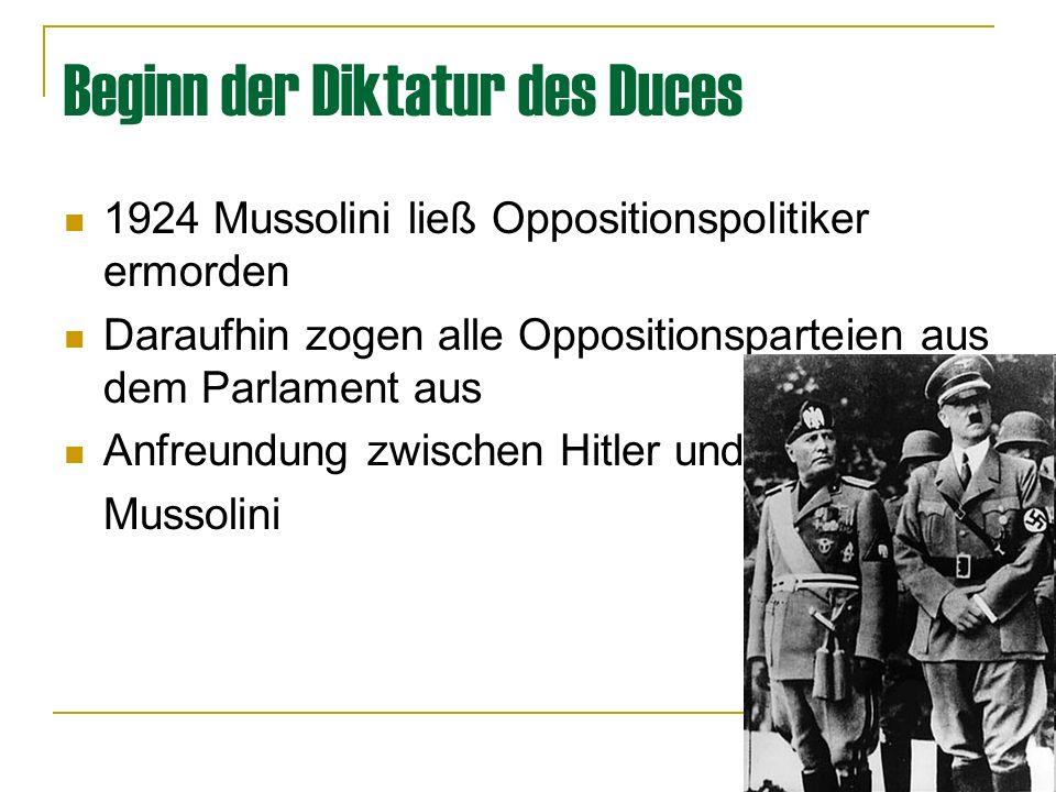 Beginn der Diktatur des Duces