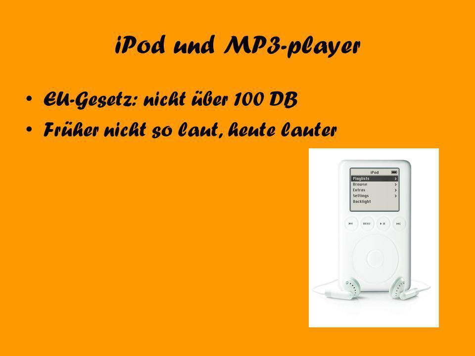 iPod und MP3-player EU-Gesetz: nicht über 100 DB