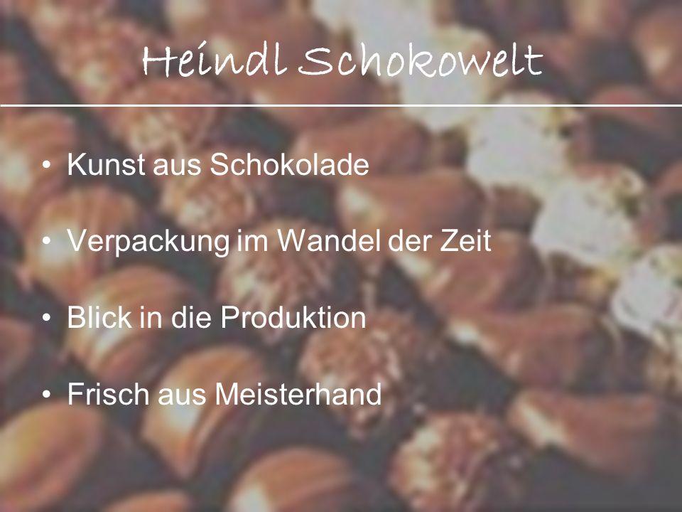 Heindl Schokowelt Kunst aus Schokolade Verpackung im Wandel der Zeit