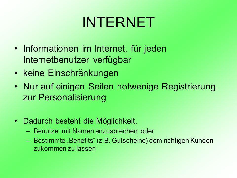 INTERNET Informationen im Internet, für jeden Internetbenutzer verfügbar. keine Einschränkungen.