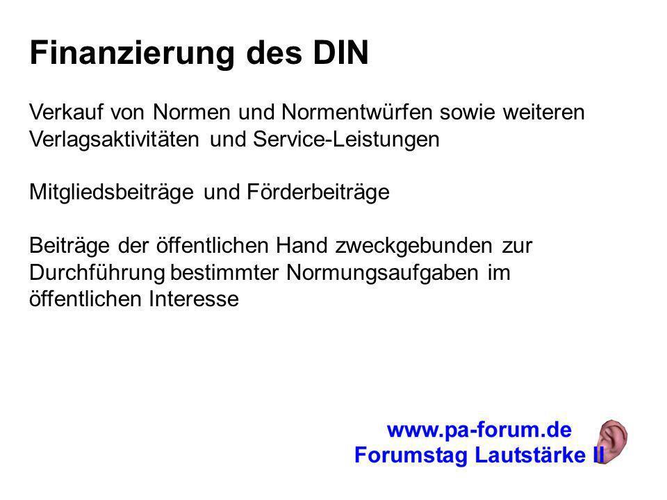 Finanzierung des DIN Verkauf von Normen und Normentwürfen sowie weiteren Verlagsaktivitäten und Service-Leistungen.