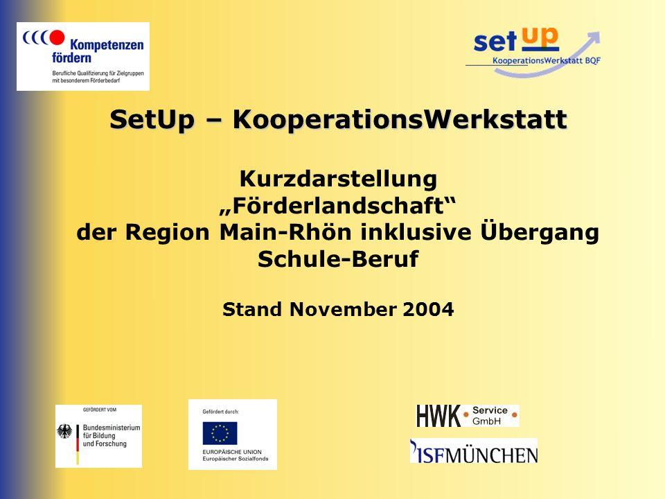"SetUp – KooperationsWerkstatt Kurzdarstellung ""Förderlandschaft der Region Main-Rhön inklusive Übergang Schule-Beruf Stand November 2004"