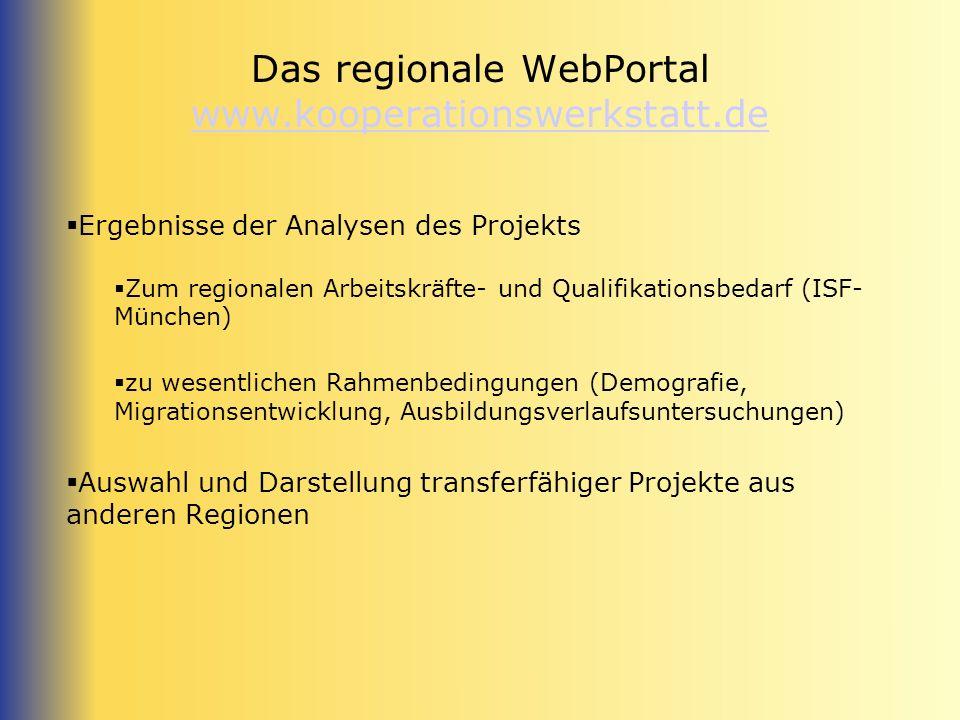 Das regionale WebPortal www.kooperationswerkstatt.de
