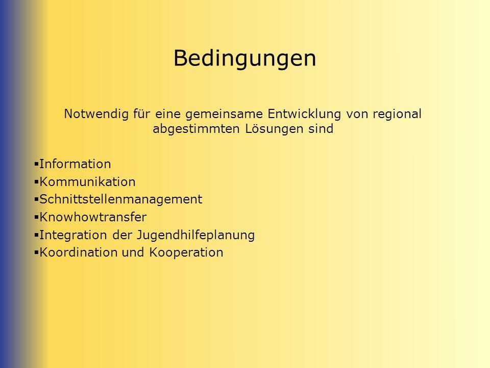 Bedingungen Notwendig für eine gemeinsame Entwicklung von regional abgestimmten Lösungen sind. Information.