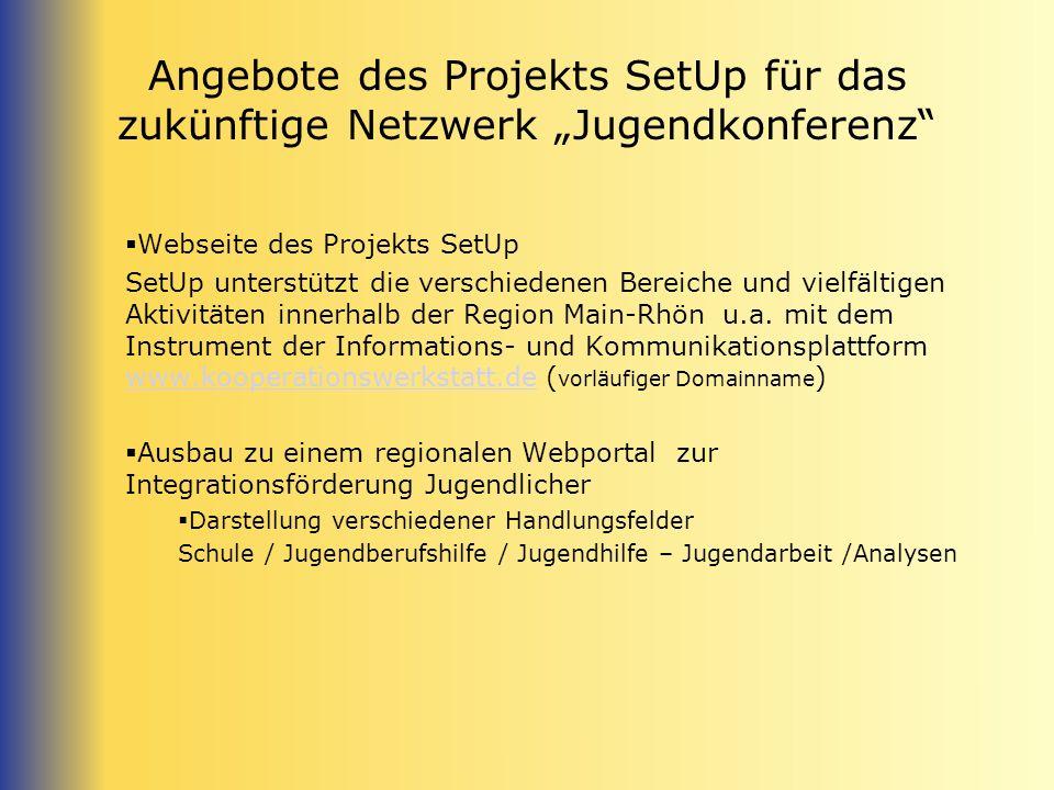 """Angebote des Projekts SetUp für das zukünftige Netzwerk """"Jugendkonferenz"""