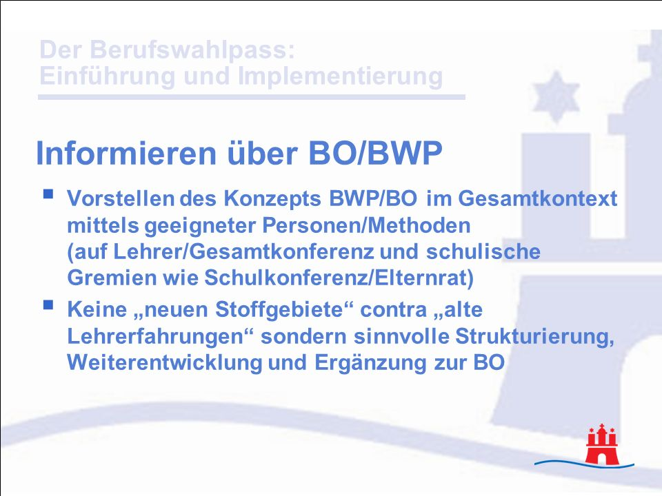 Informieren über BO/BWP