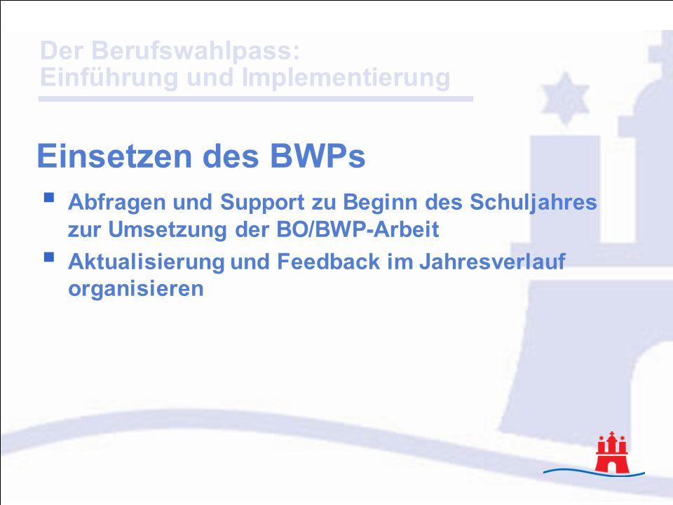 Einsetzen des BWPs Abfragen und Support zu Beginn des Schuljahres zur Umsetzung der BO/BWP-Arbeit.