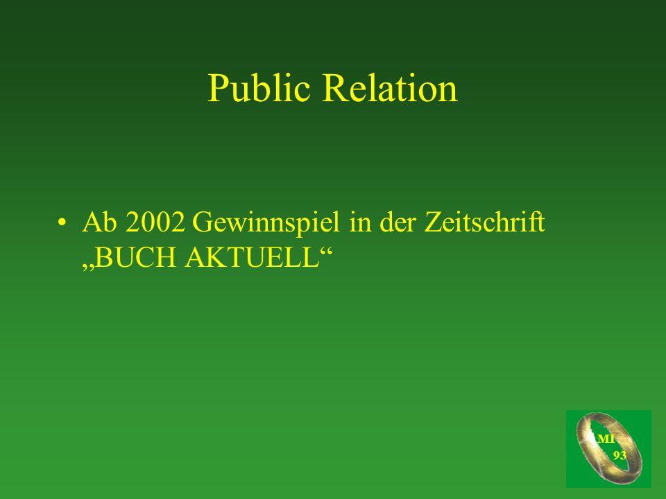 """Public Relation Ab 2002 Gewinnspiel in der Zeitschrift """"BUCH AKTUELL"""