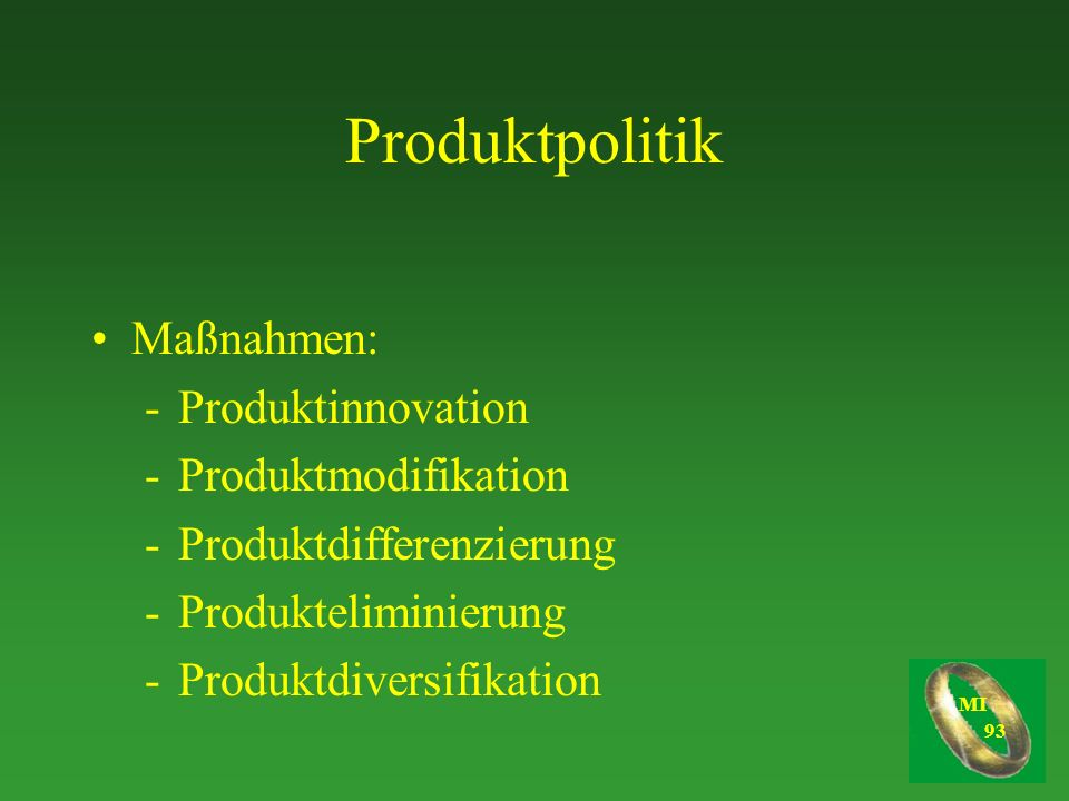 Produktpolitik Maßnahmen: Produktinnovation Produktmodifikation
