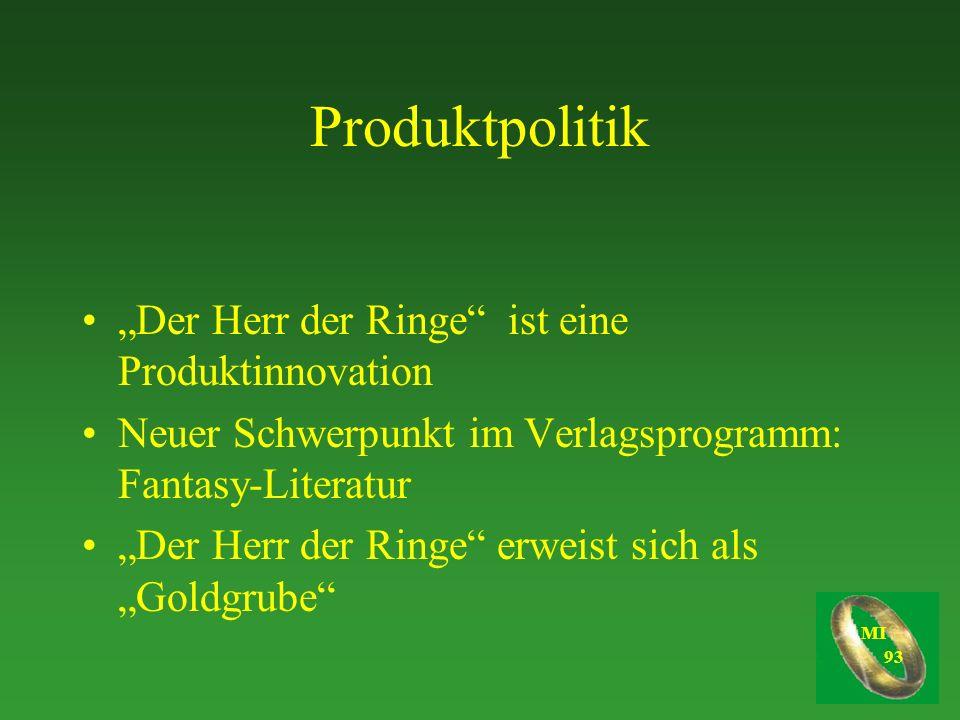 """Produktpolitik """"Der Herr der Ringe ist eine Produktinnovation"""