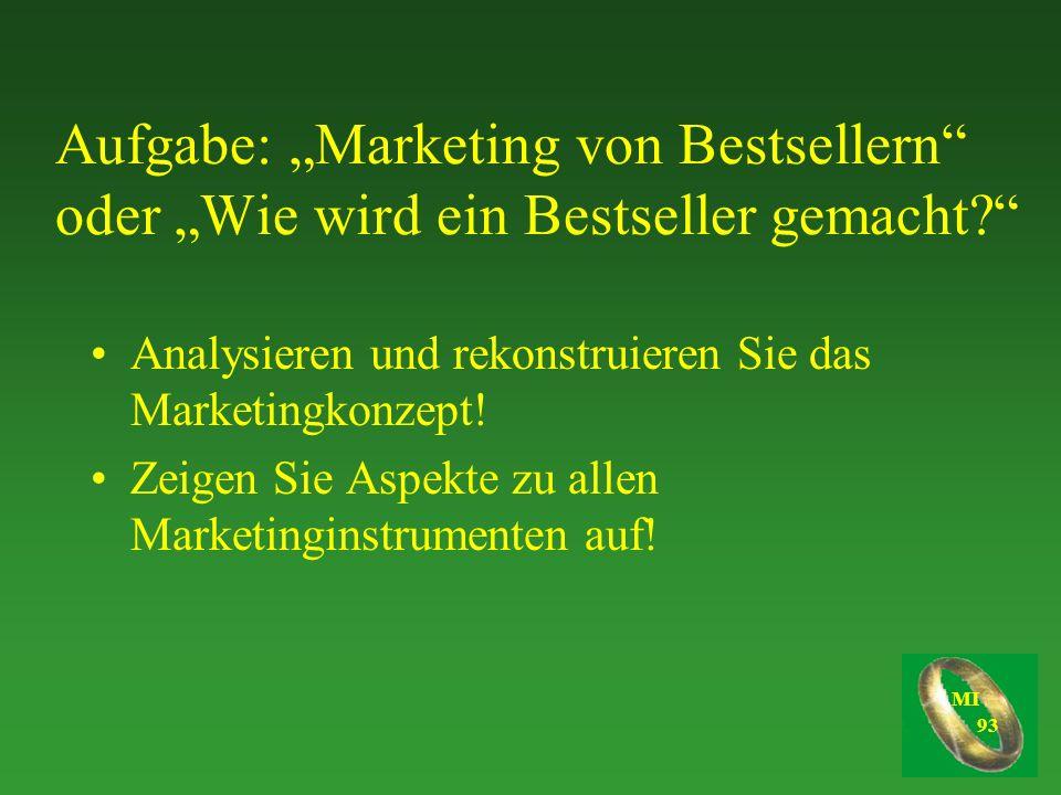 """Aufgabe: """"Marketing von Bestsellern oder """"Wie wird ein Bestseller gemacht"""