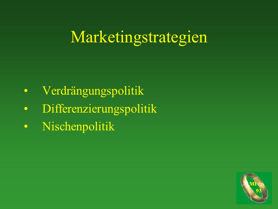 Marketingstrategien Verdrängungspolitik Differenzierungspolitik