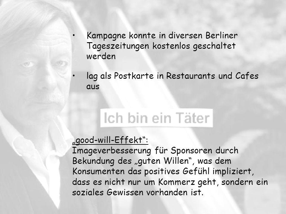 Kampagne konnte in diversen Berliner Tageszeitungen kostenlos geschaltet werden