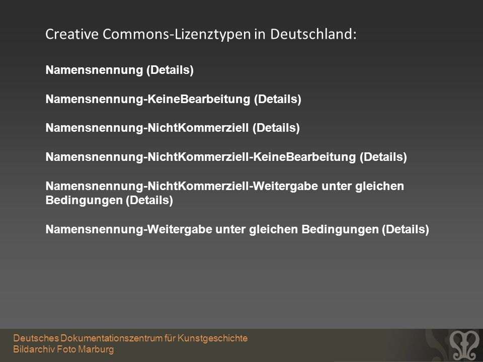 Creative Commons-Lizenztypen in Deutschland: