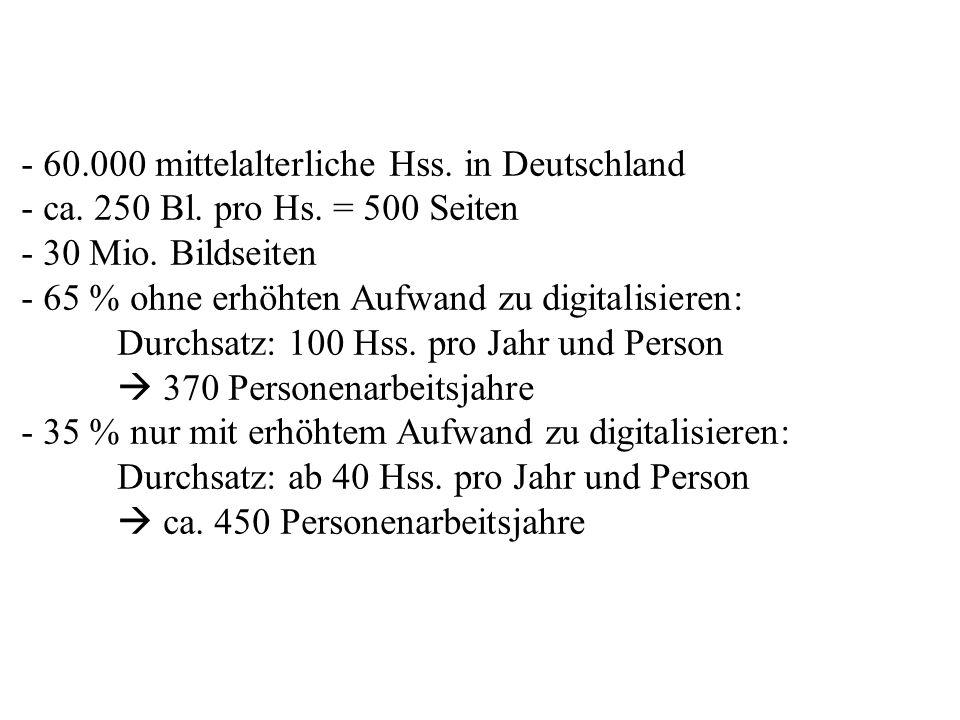- 60. 000 mittelalterliche Hss. in Deutschland - ca. 250 Bl. pro Hs