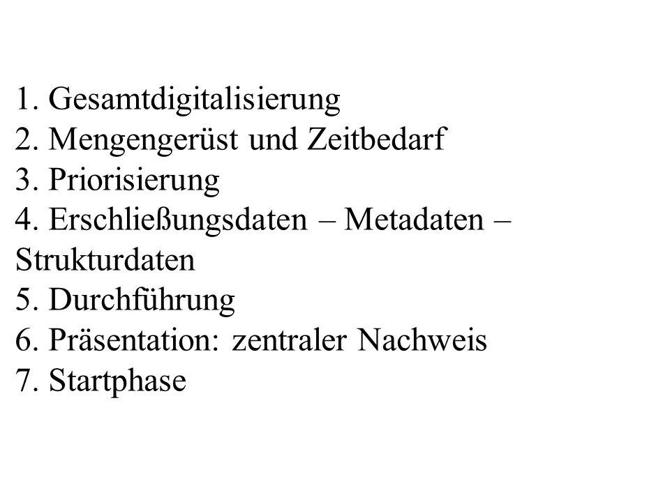 1. Gesamtdigitalisierung 2. Mengengerüst und Zeitbedarf 3