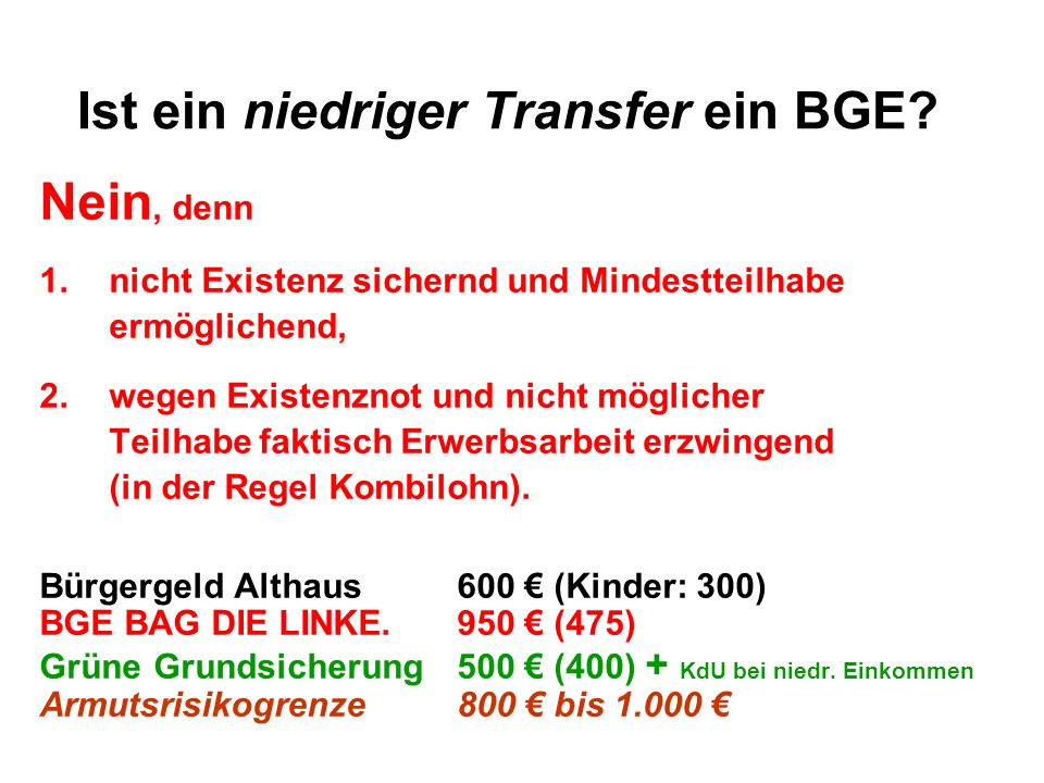 Ist ein niedriger Transfer ein BGE