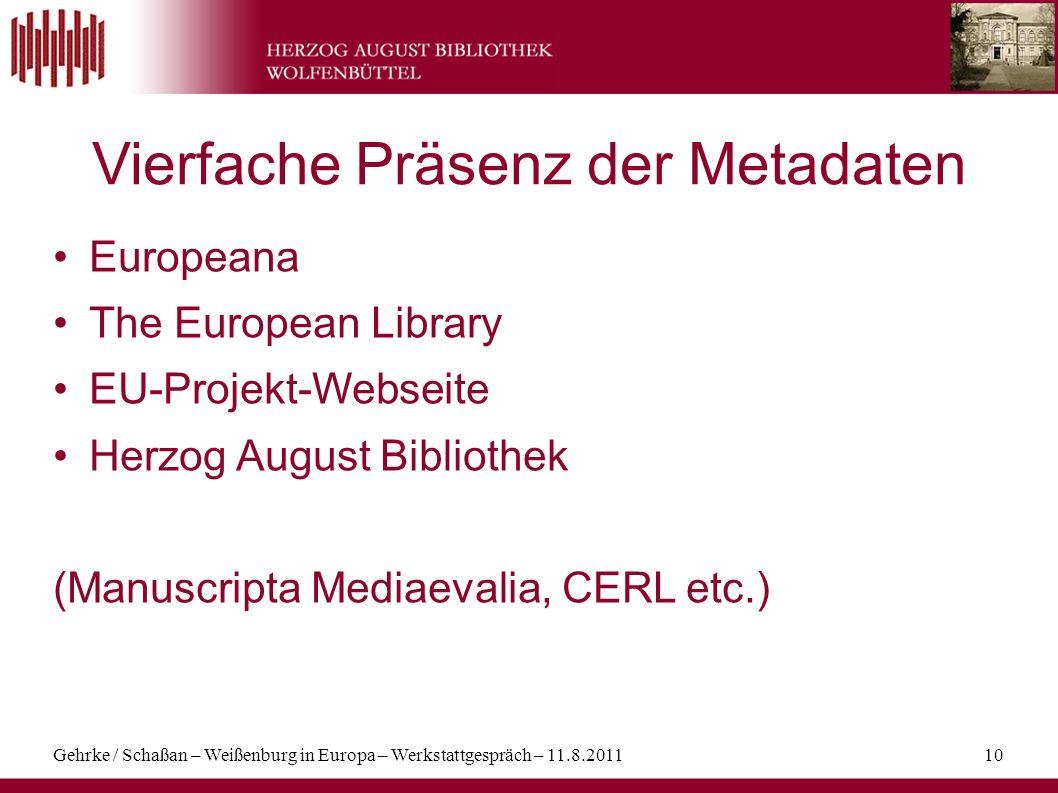 Vierfache Präsenz der Metadaten
