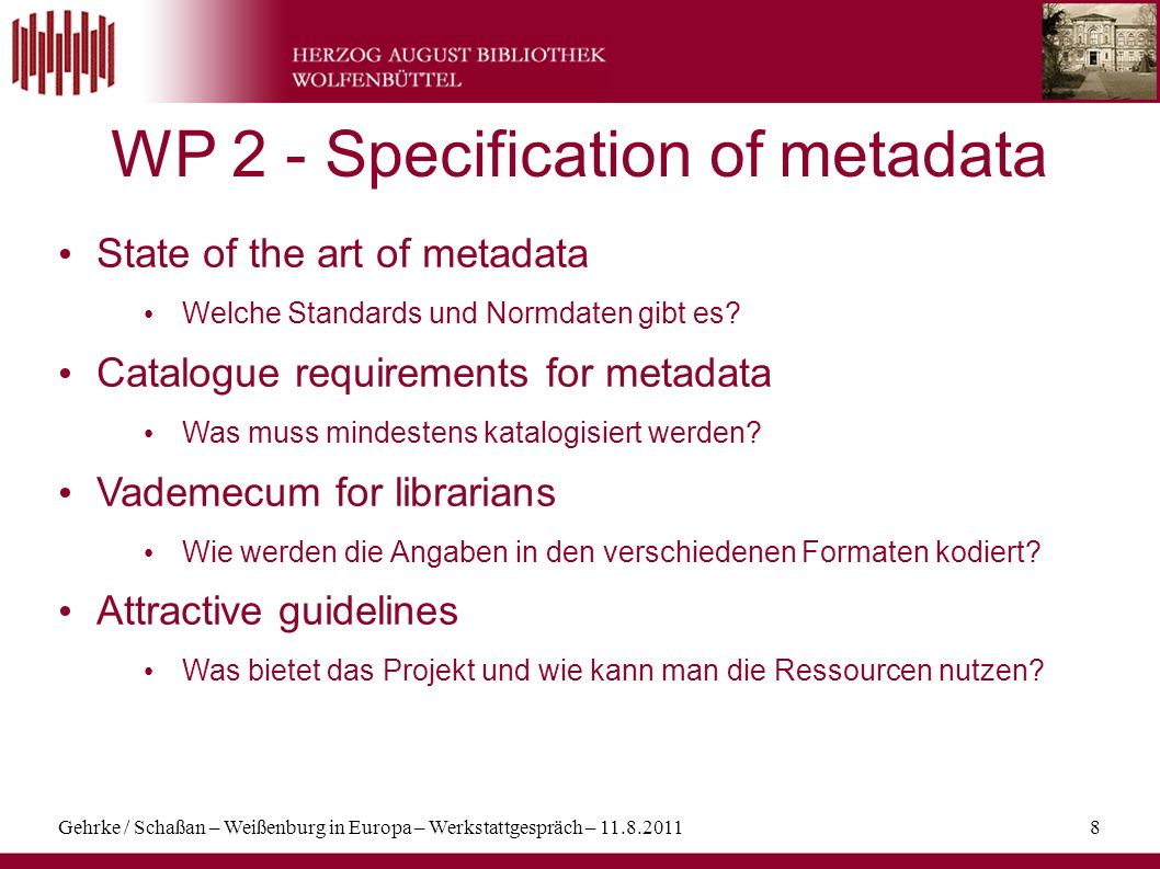 WP 2 - Specification of metadata