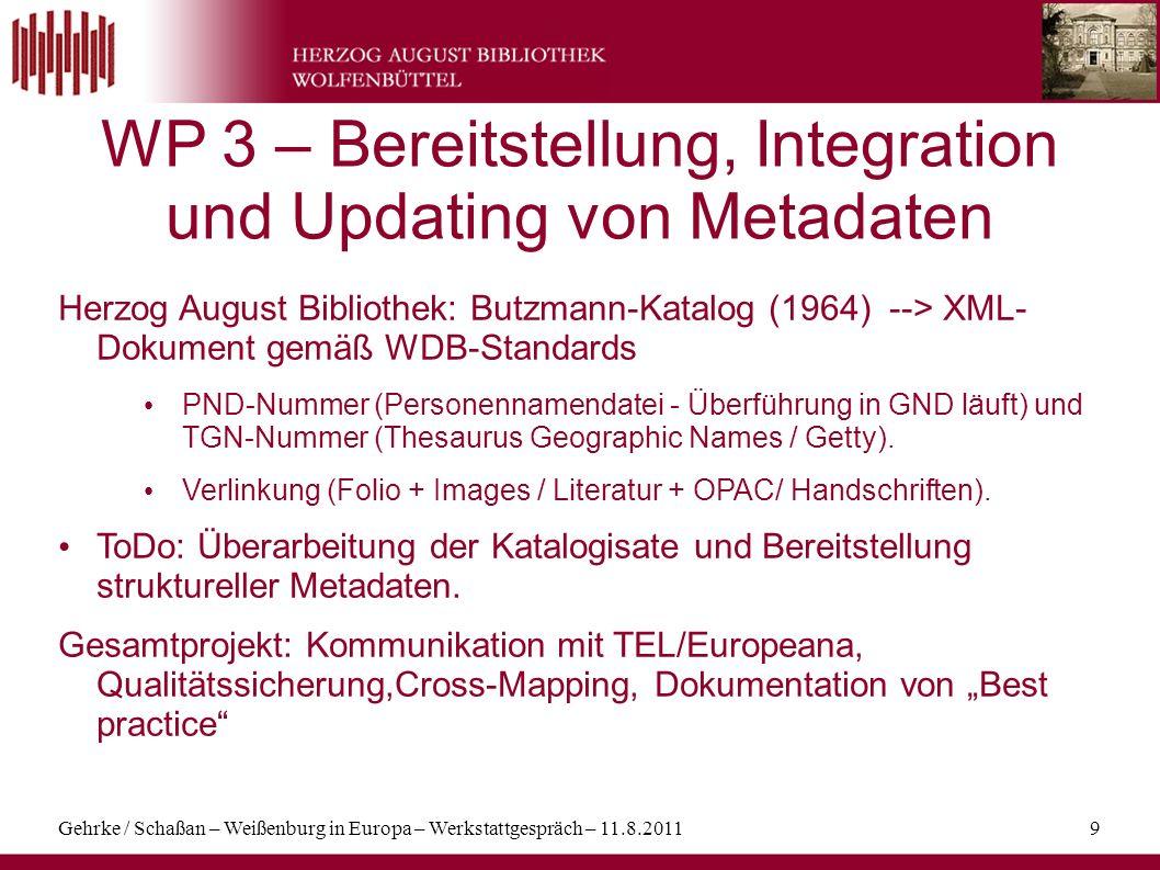 WP 3 – Bereitstellung, Integration und Updating von Metadaten