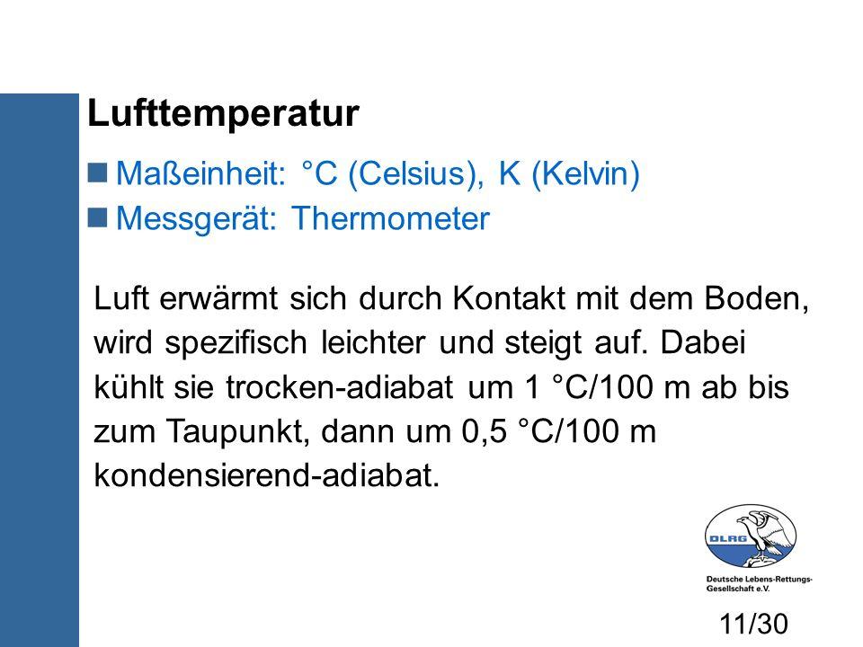 Lufttemperatur Maßeinheit: °C (Celsius), K (Kelvin)