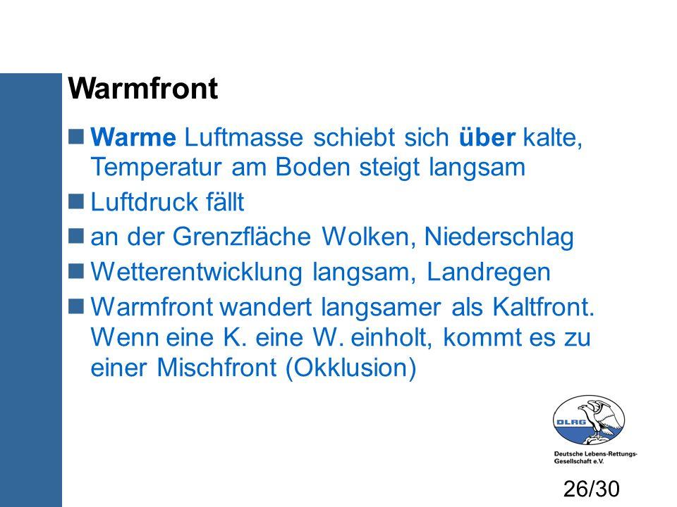 Warmfront Warme Luftmasse schiebt sich über kalte, Temperatur am Boden steigt langsam. Luftdruck fällt.