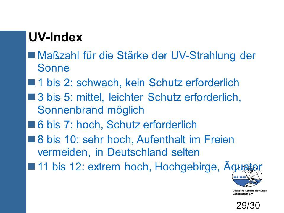UV-Index Maßzahl für die Stärke der UV-Strahlung der Sonne
