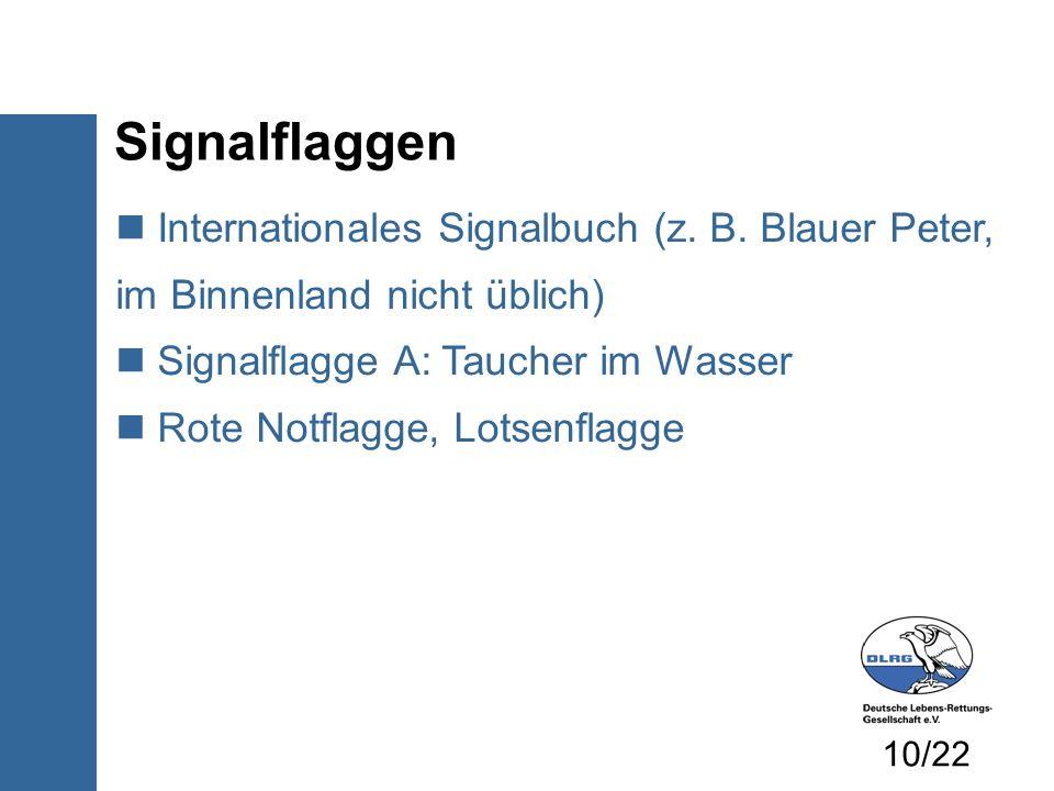 Signalflaggen Internationales Signalbuch (z. B. Blauer Peter, im Binnenland nicht üblich) Signalflagge A: Taucher im Wasser.