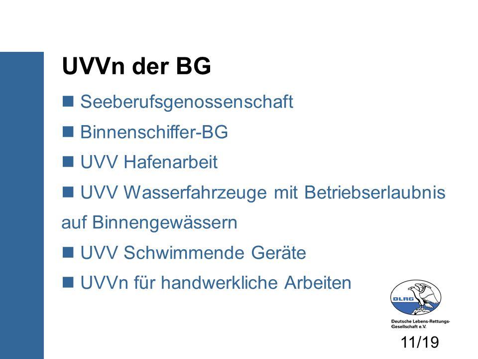 UVVn der BG Seeberufsgenossenschaft Binnenschiffer-BG UVV Hafenarbeit