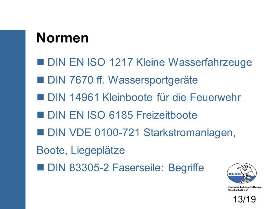 Normen DIN EN ISO 1217 Kleine Wasserfahrzeuge