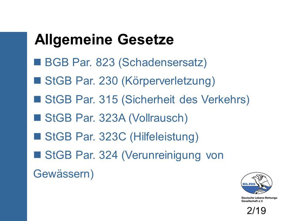 Allgemeine Gesetze BGB Par. 823 (Schadensersatz)