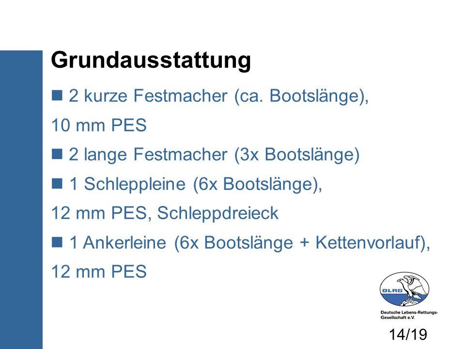 Grundausstattung 2 kurze Festmacher (ca. Bootslänge), 10 mm PES