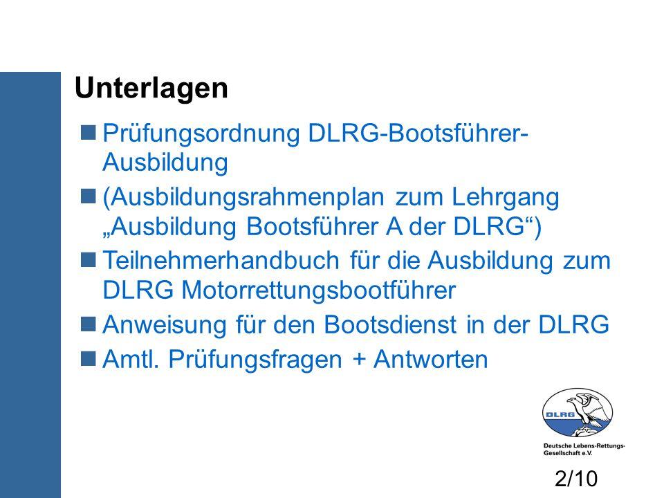 Unterlagen Prüfungsordnung DLRG-Bootsführer- Ausbildung