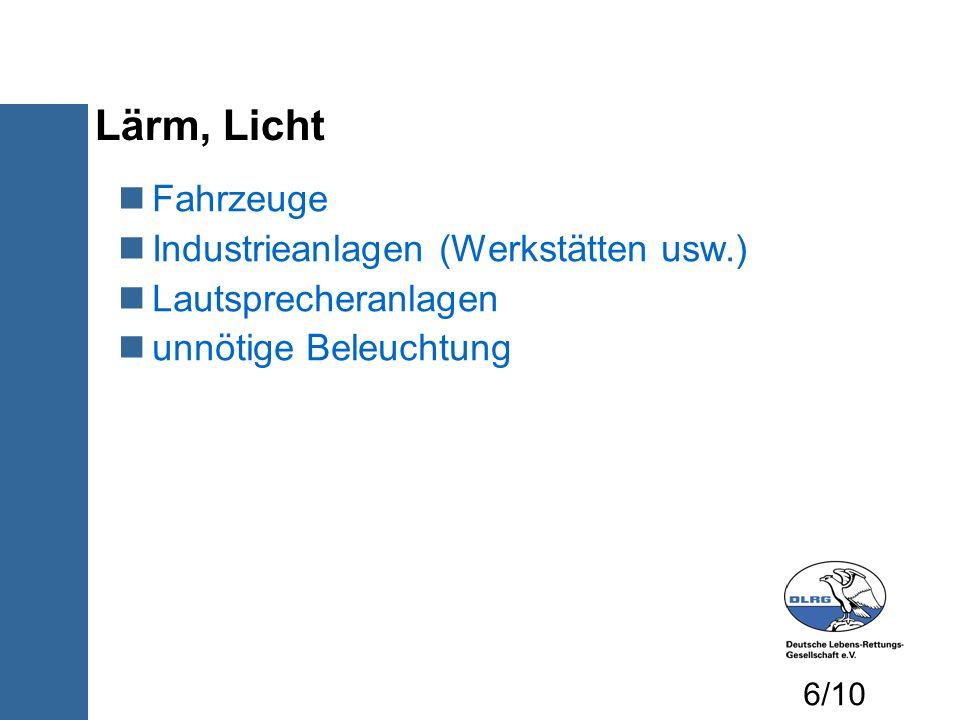 Lärm, Licht Fahrzeuge Industrieanlagen (Werkstätten usw.)