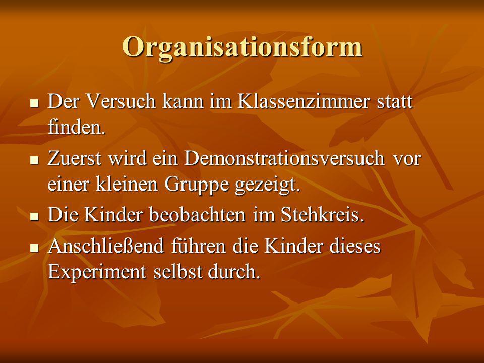 Organisationsform Der Versuch kann im Klassenzimmer statt finden.