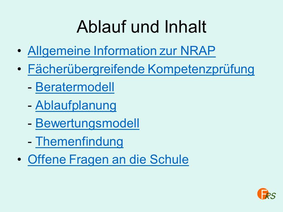 Ablauf und Inhalt Allgemeine Information zur NRAP