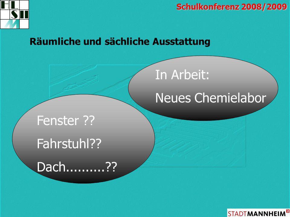 In Arbeit: Neues Chemielabor Fenster Fahrstuhl Dach..........