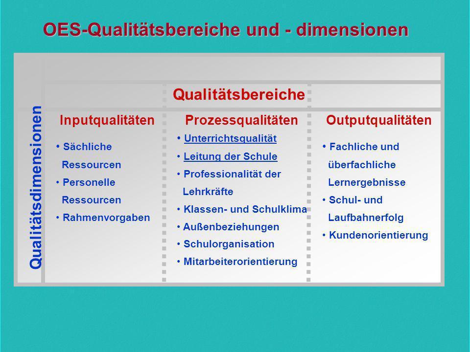 OES-Qualitätsbereiche und - dimensionen