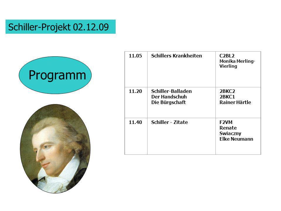 Programm Schiller-Projekt 02.12.09 11.05 Schillers Krankheiten C2BL2