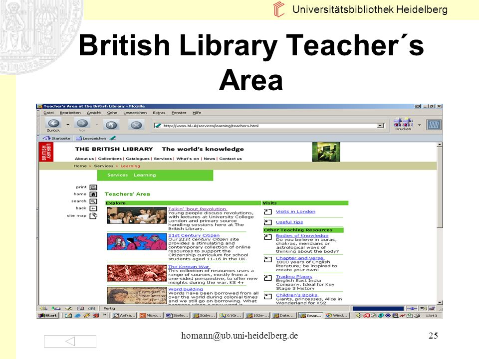 British Library Teacher´s Area
